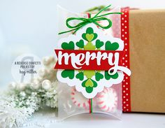 Super cute tag for a pillow box using an inlaid die cut snowflake and greeting on a banner | Kay for Reverse Confetti