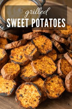 These Grilled Sweet Potatoes are little slices of heaven. Grilled to a crispy, tender finish, and served with my chipotle lime dipping sauce, these make a delicious (and nutritious) appetizer or side dish to compliment your BBQ. Sweet Potato Slices, Sweet Potato Recipes, Pellet Grill Recipes, Grilling Recipes, Smoker Recipes, Crockpot Recipes, Bbq Appetizers, Appetizer Recipes, Vegetable Side Dishes