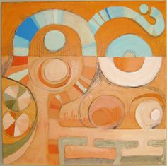 """""""Bits of Miro"""" by Claire Desjardins - 24""""x24"""" - Acrylics, graphite on canvas. Private collection."""
