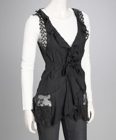 Look at this #zulilyfind! Simply Irresistible Charcoal Lace Tunic by Simply Irresistible #zulilyfinds