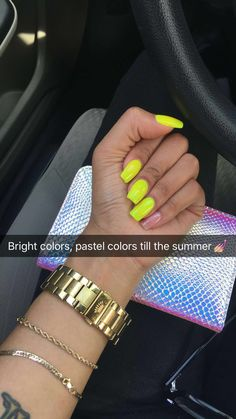 Pretty nail art for short nails fitnailslover bright summer color Pretty Nail Colors, Pretty Nail Designs, Pretty Nail Art, Bright Colors, Bright Colored Nails, Neon Yellow Nails, Neon Nails, Short Square Acrylic Nails, Best Acrylic Nails
