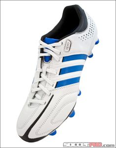 3a129340a1 adidas adiPure 11Pro TRX FG Soccer Cleats - Running White with Bright Blue  and Black.