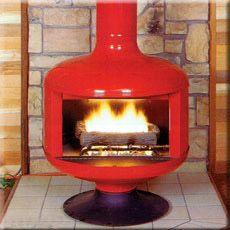 Mid Century Free Standing Ceramic Fireplace In Green Glaze