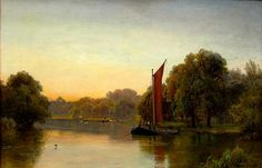 Alfrd De Breanski Sr, On the Thames at Thames Ditton. Circa 1880. From 2015 San Francisco Fall Antiques Show exhibitor, David Brooker.