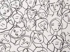 Crowded Faces Cotton Lawn White is part of lawn Fabric Dress Description A super soft lightweight cotton lawn dressmaking fabric This fabric would make a lovely blouse, dress or skirt or how abou - Illustration Sketches, Graphic Illustration, Archer Shirt, Lawn Fabric, Cotton Fabric, Continuous Line Drawing, Album Cover Design, Dressmaking Fabric, Dress Making Patterns