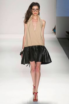 Tracy Reese Spring 2013 RTW Collection - Fashion on TheCut - I love this combination of all kind of materials with leather, that's what makes dress so cool.
