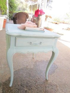 Shabby Chic End Tables Elegant Vintage Duck Egg Blue Chippy Side Table Nightstand Shabby Shabby Chic Nightstand, Blue Side Table, Room Design Bedroom, Beach Cottage Decor, Duck Egg Blue, Table Furniture, Furniture Ideas, Round Coffee Table, New Room