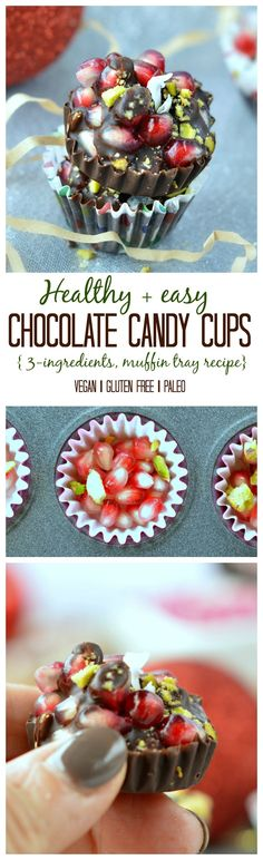 Healthy and easy christmas treat those chocolate candy cups made with only 3 ingredients in muffin tray are amazing! Check out the magic healthy ingredients!