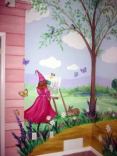 Pink, purple and blue work well in most princess rooms. Paint your own wall mural to make her princess bedroom really special.
