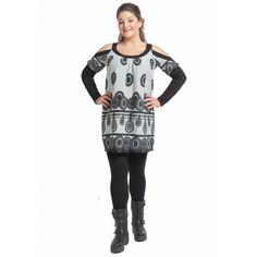 Μπλουζοφόρεμα με ανοιχτούς ώμους εμπριμέ (5716) Plus Size Blouses, Punk, Tops, Women, Style, Fashion, Swag, Moda, Fashion Styles