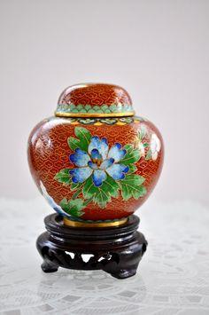 Vintage Cloisonne Enamel Ginger Jar Asian Cloisonne by NORAVINTAGE, $28.00