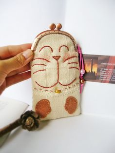 Cat cell phone case Cat purse Metal frame purse by DooDesign