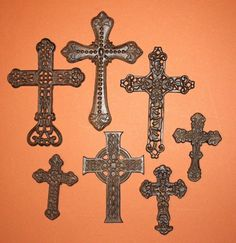 (7)pcs, CLASSIC IRON AGE MEDIEVAL WALL DECOR, VINTAGE STYLE, CAST IRON CROSS