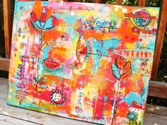 Love all the colors and doodles on this large canvas!