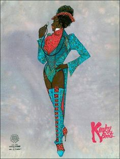 When the costumes are referenced in the title of your multi-million dollar Broadway musical, you better hire the best to design them. Such was the case with Kinky Boots, the new high-spirited musical by Cyndi Lauper and Harvey Fierstein. Kinky Boots Musical, Harvey Fierstein, Costume Design Sketch, Broadway Costumes, Tony Award Winners, Greggs, Musical Theatre, Aesthetic Art, Musicals