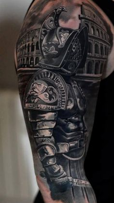 What does gladiator tattoo mean? We have gladiator tattoo ideas, designs, symbolism and we explain the meaning behind the tattoo. Warrior Tattoos, Badass Tattoos, Body Art Tattoos, Tattoos For Guys, Tattoo Art, Warrior Tattoo Sleeve, Fighter Tattoos, Tatoos, Gladiator Tattoo