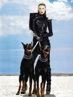 "Telegraph Magazine UK, Fall 2009 ""To The Mad Max"" Model: Angela Lindvall Stylist: Daniela Agnelli Photo: Alix Malka Chien Dobermann, Animal Photography, Fashion Photography, Editorial Photography, Mode Latex, Doberman Pinscher Dog, Doberman Love, Dangerous Animals, Girl And Dog"