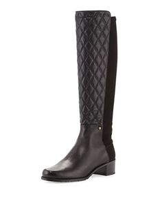 Guard Quilted Leather Knee Boot, Black (Made to Order) by Stuart Weitzman at Bergdorf Goodman.