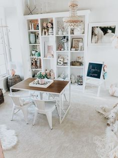 Wendy Correen Smith: Dining Room to Playroom Conversion. Whimsical rainbow inspired playroom for toddler girl. Dining Room Playroom Combo, Playroom Table, Playroom Furniture, Playroom Decor, Playroom Ideas, Kid Playroom, Playroom Storage, Office Playroom, Bedroom Furniture