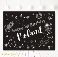 Your place to buy and sell all things handmade 3rd Birthday, Birthday Party Themes, Birthday Ideas, 6 Month Baby Picture Ideas, Outer Space Party, Birthday Backdrop, Happy 1st Birthdays, Decoration Table, Baby Month By Month