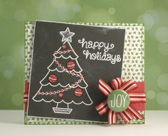 Lawn Fawn - Trim the Tree, Winter Gifts, Peace Joy Love 6x6 paper and flair _ trendy chalkboard style card by Yainea