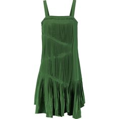 Tibi Pleated silk dress ($300) ❤ liked on Polyvore featuring dresses, green, green pleated dress, loose fitting dresses, tibi dresses, silk dress and green dress