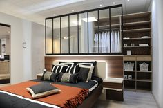 Awesome Idee Deco Chambre Parentale Avec Dressing that you must know, You?re in good company if you?re looking for Idee Deco Chambre Parentale Avec Dressing Wardrobe Behind Bed, Parents Room, Luxury Dining Room, Home Decor Furniture, Room Decor Bedroom, Modern Bedroom, Small Spaces, New Homes, Interior Design