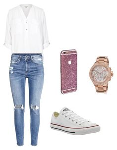 """Untitled #145"" by aandreead ❤ liked on Polyvore featuring River Island, H&M, Converse and Michael Kors"