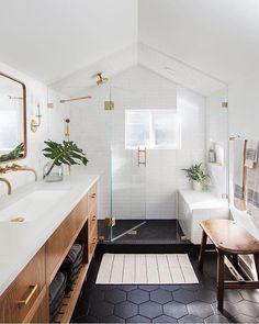 Beautiful bathroom ideas and inspiration - wood, black and white bathroom inspiration Beautiful Bathroom Decor and Design Ideas Bathroom Goals, Attic Bathroom, Bathroom Interior, Small Bathroom, Bathroom Black, Bathroom Vanities, Bathroom Modern, Bathroom Plumbing, Dark Floor Bathroom