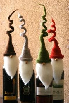 DIY -- Santa Wine Toppers. Would make cute inexpensive Christmas gifts for friends #food