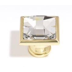 Square brass & Swarovski Crystal knob