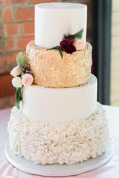 Glam romance, gold sprinkles, ruffled buttercream, white wedding cake // Shannon Moffit Photography LLC