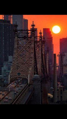 New York City sunset over the 59th Street bridge