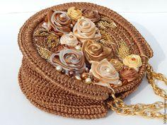 """Купить Сумочка """"Осенний поцелуй"""". - коричневый, цветочный, рыжий цвет, светло-коричневый, золотой цвет"""