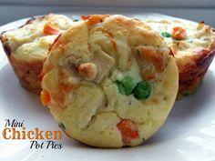 Try this with my pot pie mix and biscuits as cups...?  Mini Chicken Pot Pies - 2 cups cooked, shredded chicken  1 cup diced onion  0.5 cup low sodium chicken broth  1 cup frozen peas and carrots  0.5 teaspoon salt  0.25 teaspoon pepper  0.25 teaspoon dried thyme  0.25 cup shredded mozzarella   0.75 cup baking mix (such as Bisquick)  0.75 cup fat free milk  2 medium eggs