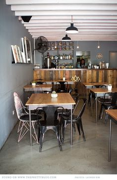 Modern & rustic shop interior- The Good Luck Club Opening A Restaurant, Cafe Restaurant, Restaurant Design, Design Café, Cafe Design, Cafe Interior, Luxury Interior, Interior Design, Burger Laden