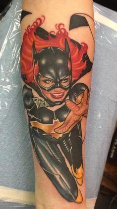 Batgirl tattoo. The start of a all female superhero sleeve. Not done yet.