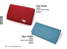 Red and Blue Wallets from the Ferocat Catalogue. www.ferocat.com Stylish Handbags, Continental Wallet, Red And Blue, Catalog, Wallets, Colours, Fashion, Moda, Brochures