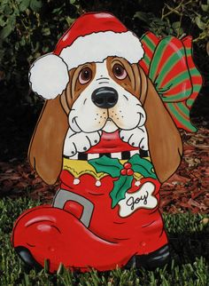 Hand Painted Basset Hound Yard Art Merry Christmas Pup in Boot Christmas Yard Art, Christmas Yard Decorations, Merry Christmas, Plastic Canvas Christmas, Christmas Bags, Christmas Animals, Christmas Wood, Christmas Crafts, Wood Yard Art