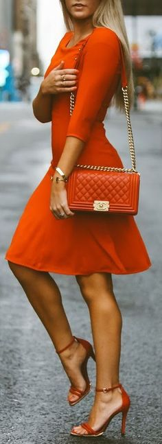 Lady in Orange. women fashion outfit clothing stylish apparel @roressclothes closet ideas