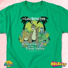 Great Valley Land Before Time T-Shirt made by Trevco in collections: 80s Movies: Land Before Time, & Department: Adult Mens, & Color: Green
