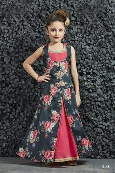 Black And Pink Banglori Silk Hand Work Party Wear Gown For Kids Product Details : Let your daughter stay stylish and trendy wearing this black and pink color party wear gown, which makes your lil angel look cute. Crafted of banarasi silk this beauti Gowns For Girls, Frocks For Girls, Dresses Kids Girl, Kids Dress Wear, Kids Gown, Kids Wear, Baby Dress Design, Frock Design, Party Wear Frocks