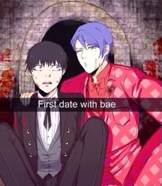 "I just love how in most of these tsukiyama calls kaneki ""bae"" but kaneki looks like he's terrified or angry"