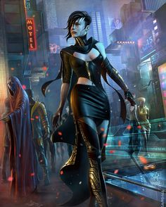 Shadowrun. City street scene.
