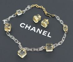 Chanel Lucite Cube Necklace Earrings 16 Inch Long 01a W Box V827 In 2020 Cube Necklace Crystal Bead Necklace Gold Chain With Pendant