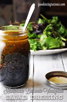 Homemade Balsamic Vinaigrette Salad Dressing uses just a few ingredients you've probably got in your kitchen. Great to mix up a jar and keep it on hand for Phase 3.