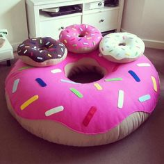 Youve seen the babies! Its time to meet the Mama! Donut beanbags in Large and XL coming soon! Food Pillows, Cute Pillows, Diy Pillows, Cushions, Donut Cushion, Cushion Pillow, Cute Furniture, Donut Decorations, Kawaii Room