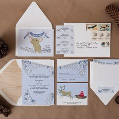 A Hand-Illustrated Invitation for a Lake Tahoe Destination Wedding. #WeddingInvitations #SaveTheDate