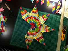 """Made by a Man: Sew What: Woven Star, Lone Star-  tutorial-  from 7 1"""" strip sets, I think he must of made about a million of them"""