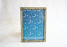 Fancy 5x7 Frame, Brass and Celluloid Faux Mother of Pearl Trim, Vintage Picture Frame